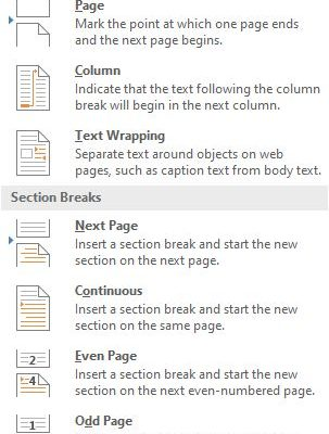 Microsoft Word Page and Section Breaks